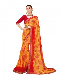 Comet Busters Orange Georgette Saree with Printed Border
