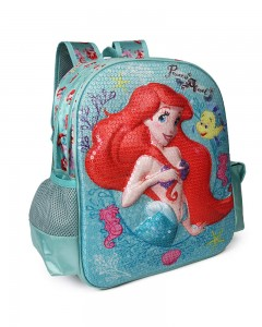 Disney Princess Ariel Turquoise School Bag for Children of Age Group 3-5 Years | Size 14 inch | Material Satin