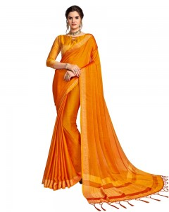 Comet Busters Georgette Saree With Resham Border (Orange)