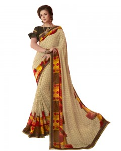 Comet Busters Beautiful Printed Cream Saree