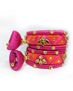 Comet Busters Handcrafted Pink Traditional Bangle Set for Women