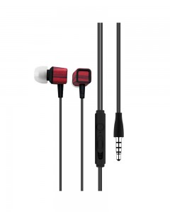 Portronics POR-883 Conch 206 in-Ear Wired Earphone with 3.5mm Audio Jack and Mic | Red