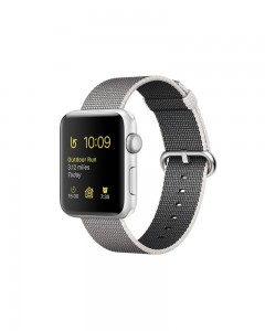 Apple Watch Series 2 | 38 mm Silver Aluminum Case | Pearl Woven Nylon Band  (Silver Strap Medium)