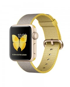 Apple Watch Series 2 | 38 mm Gold Aluminium Case | Yellow / Light Gray Woven Nylon Band  (Grey Strap Medium)