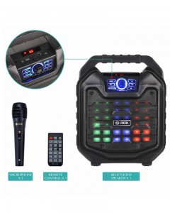 Zoook Rocker Thunder 2 | 30 watts | Karaoke Bluetooth Speaker | with Remote & Wired Mic | Black